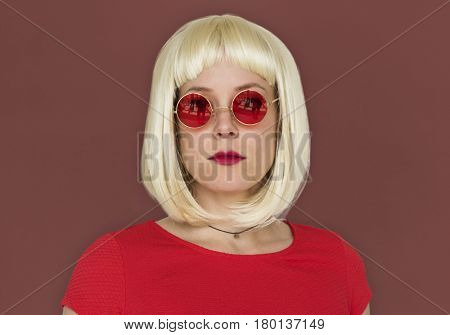 Caucasian Woman Cool Neutral Poker Face