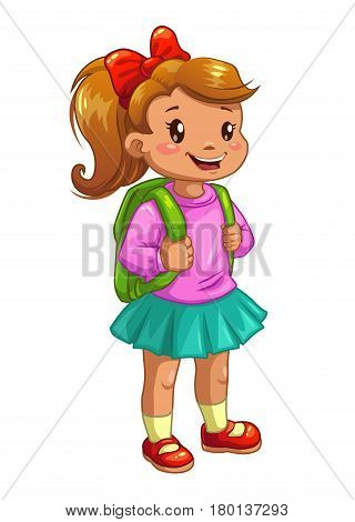 Little cute girl with knapsack. Vector icon, isolated on white background.