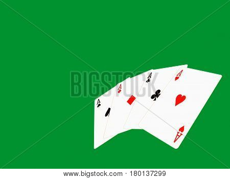 Four aces on green casino background with empty space for text.