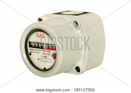 Gas meter isolated on white background taken closeup.