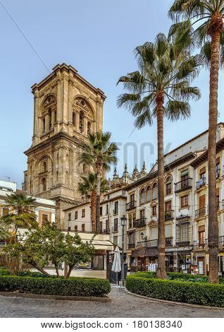Cityscape with cathedral tower in Granada Spain