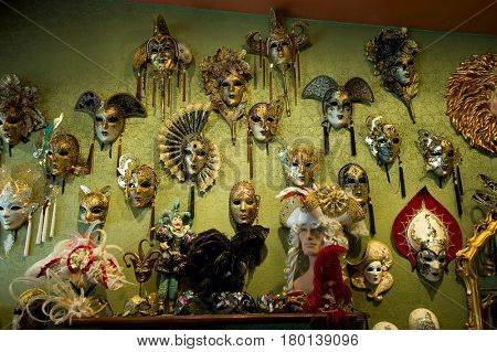 Venice, Italy - July 27, 2012: Venetian carnival masks in souvenir shop on a street of Venice, the Carnival is annual festival held in Venice, the Carnival ends with the Christian celebration of Lent