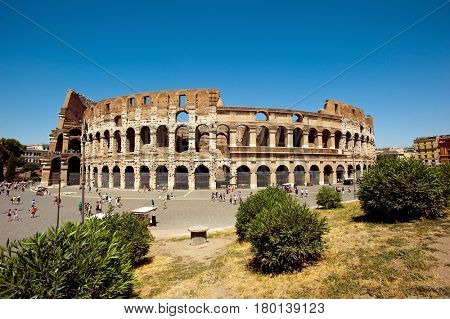 Colosseum in Rome, Italy - July 10, 2012: The Colosseum exterior, built of concrete and sand, it is the largest amphitheater ever built.