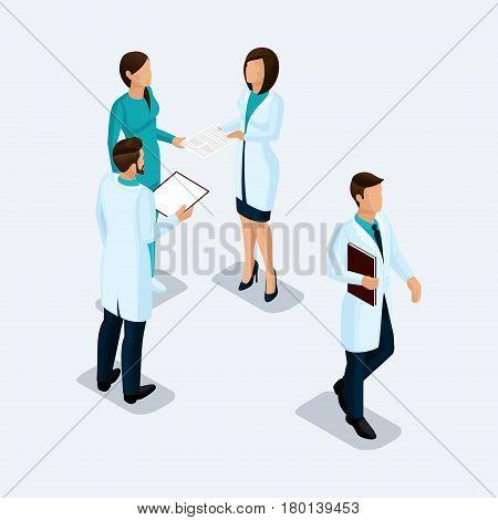 Isometric Doctor surgeon and nurse hospital staff konsillium isolated on a light background. Vektor illustration.