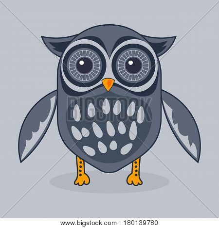 Cool and cute owl illustration. Cartoon owl. Vector stock.