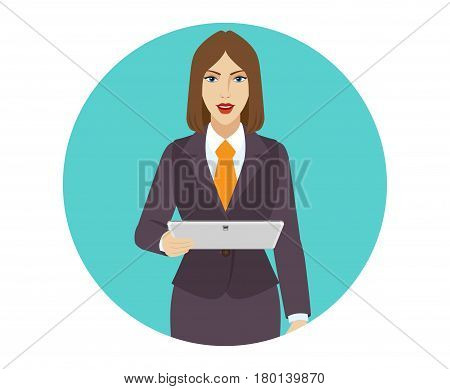 Businesswoman holding a digital tablet PC. Portrait of businesswoman in a flat style. Vector illustration.