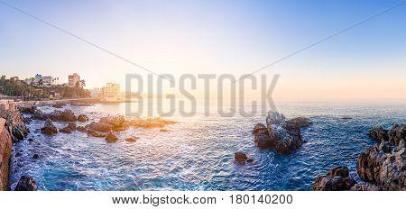 Panoramic view of the coastline in Vina del Mar Chile