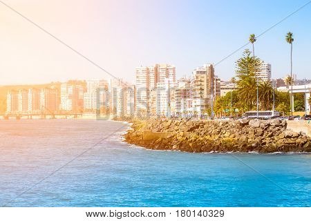 View to the lagoon with hotels and residential buildings in Vina del Mar Chile