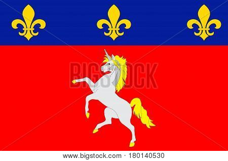 Flag of Saint-Lo is a commune in north-western France the capital of the Manche department in the region of Normandy. Vector illustration