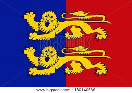 Flag of Manche is a French department in Normandy. Vector illustration