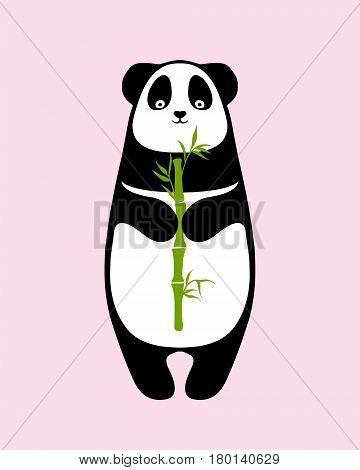 Vector illustration - panda with bamboo sprout