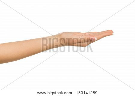 Outstretched female hand with manicure, woman keeping empty cupped palm on white isolated background - offering or begging concept, close-up, copy space, cutout