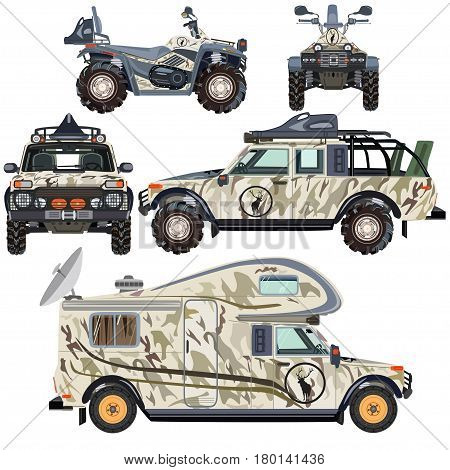 Vector set of land vehicles in flat style. Hunting and travel transport icons isolated on white background.