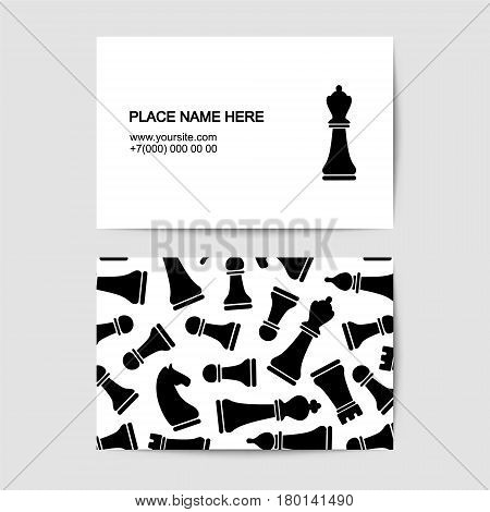 Vector Visit Card Template With Chess
