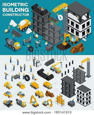 Design building isometric view create your own design building construction excavation heavy equipment trucks construction workers people uniform blocks piles. Vector illustration.