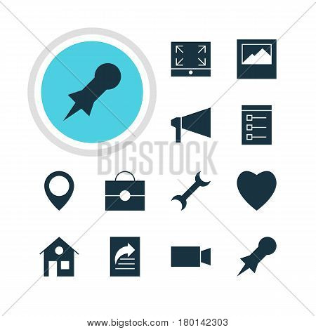 Vector Illustration Of 12 Online Icons. Editable Pack Of Landscape Photo, Document Transfer, Love Elements.