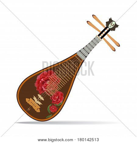 Vector illustration of pipa isolated on white background. Chinese string plucked musical instrument with peony flowers in flat design.