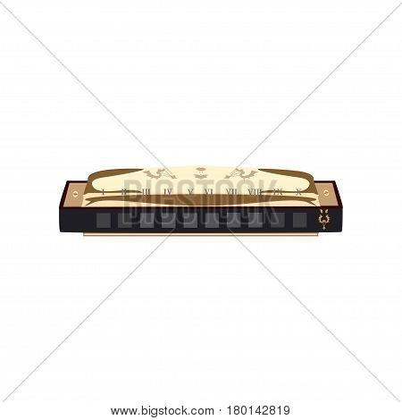 Vector illustration of Harmonica isolated on white background. French harp mouth organ in flat style.