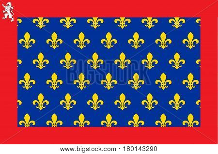 Flag of Sarthe is part of the current region of Pays de la Loire is a department in France. Vector illustration