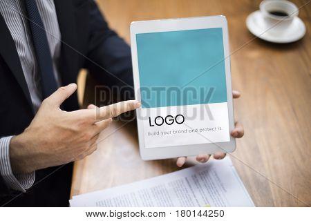Illustration of identity branding business trademark on digital tablet