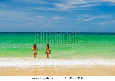 Two Beautiful Women at the beach in Thailand