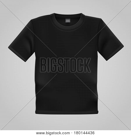 Black T-shirt template isolated on white background. Blank t shirt for any print template. Clothing store concept. Vector illustration.