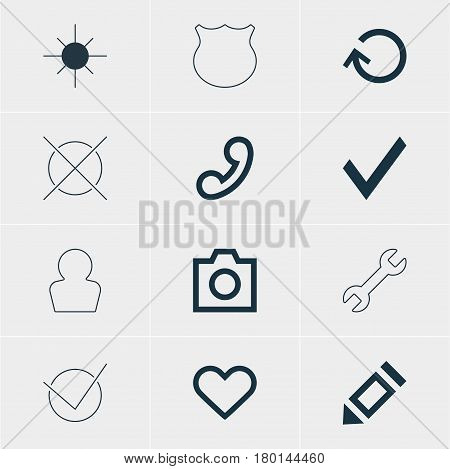 Vector Illustration Of 12 User Icons. Editable Pack Of Yes, Snapshot , Handset Elements.