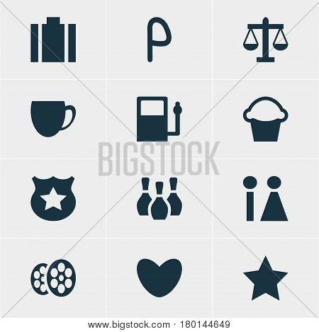 Vector Illustration Of 12 Travel Icons. Editable Pack Of Scales, Refueling, Coffee Shop And Other Elements.