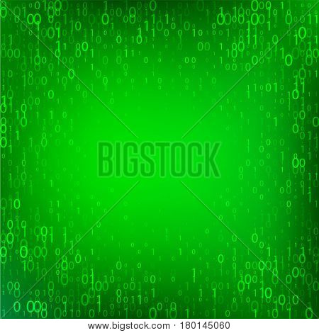 Isolated abstract green color binary code fall background, programming element backdrop vector illustration.
