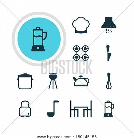 Vector Illustration Of 12 Restaurant Icons. Editable Pack Of Barbecue, Extractor Appliance, Teakettle And Other Elements.