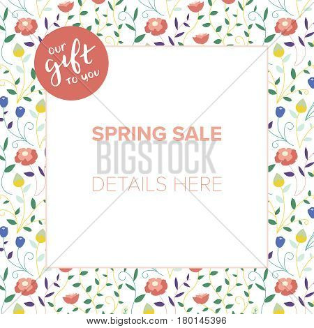 Corporate spring sale marketing collateral with room for copy space. Small business promotional image with hand lettering badge and floral frame background.