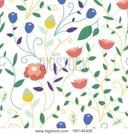 Seamless colorful flower pattern. Repeating collection of spring and summer flowers. Vector illustration of background floral pattern of roses, peonies, vines, budding flowers and leaves.