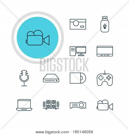 Vector Illustration Of 12 Accessory Icons. Editable Pack Of PC, Joypad, Usb Card And Other Elements.