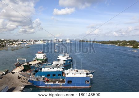 The view of Nassau the capital of the Bahamas on New Providence Island the industrial island Potters Cay and resort destination Paradise Island on a right side.