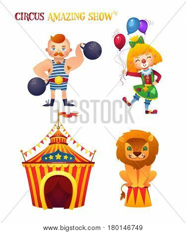 Circus characters. Clowness, strongman, lion. Circus tent. A bright festive illustration for printing and children's holidays.