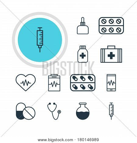 Vector Illustration Of 12 Health Icons. Editable Pack Of Vial, Medicament Pitcher, Pulse And Other Elements.