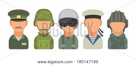 Set icon character russian military people. Soldier officer pilot marine trooper sailor. Vector flat illustration on turquoise circle