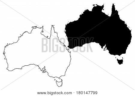 Australia map vector illustration , scribble sketch Australia