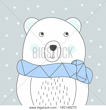 Cool and cute polar bear with scarf print illustration