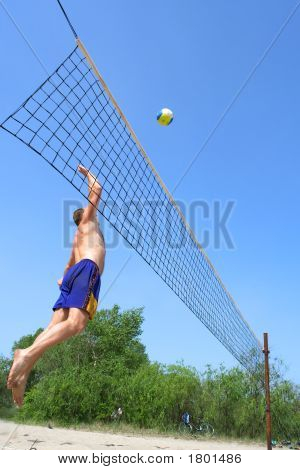 People Playing Beach Volleyball - Fat Man Jumps High To Strike The Ball