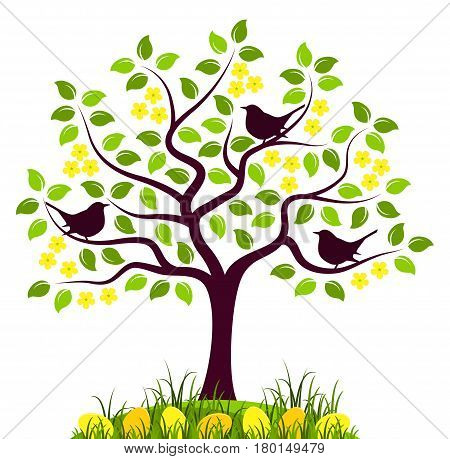 vector flowering tree with birds and easter eggs in grass isolated on white background