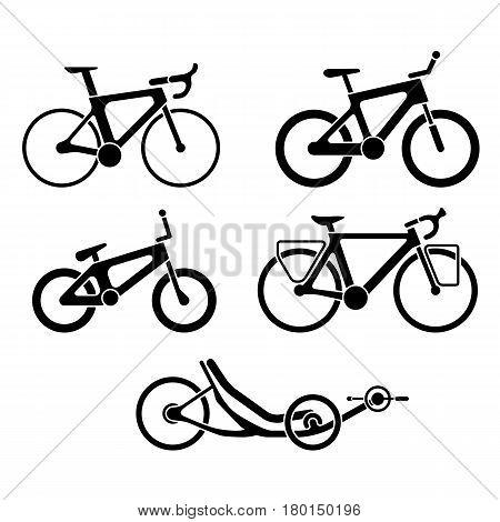 Set Of Bikes Silhouette Icons