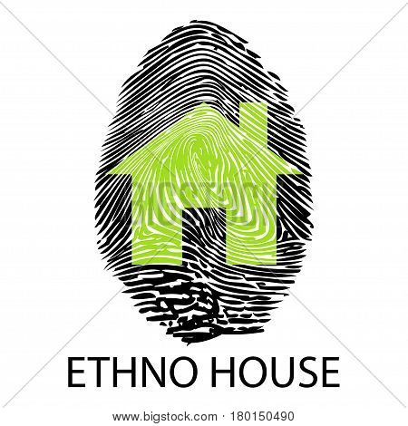 Illustration symbol ethno house like a fingerprint.