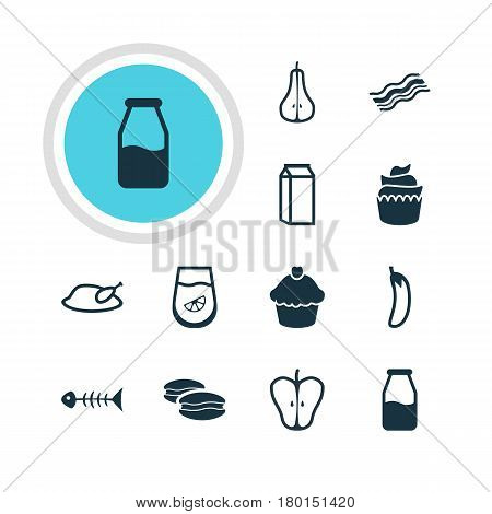 Vector Illustration Of 12 Cooking Icons. Editable Pack Of Ham, Duchess, Juice And Other Elements.