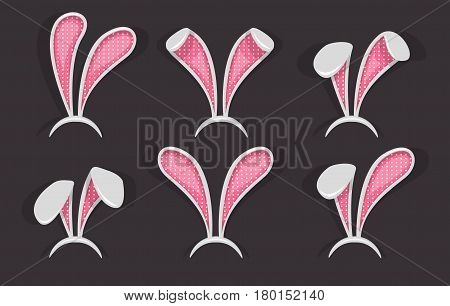 Easter bunny ears mask set. Ostern spring bunny ears hat. Headdress, costume isolated element for the celebration of Easter. Vector Illustration.
