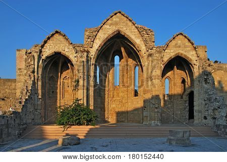Ruins of the big Catholic churche  Virgin of Burgo at medieval town of Rhodes.