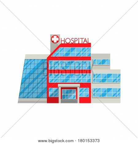 Hospital in flat style isolated on white background Vector illustration. Medical health protection treatment of diseases, injuries, hospitalization seriously wounded character for your projects.