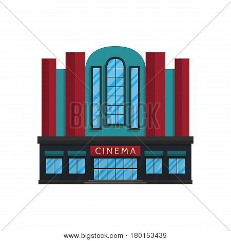 Cinema building in flat style isolated on white background Vector illustration. Place for movies, movie premieres, vacation symbol for your projects.