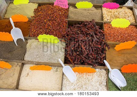 Dried vegetables and spices on a street market