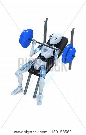 3d render of a robot doing bench presses with a barbell against a white background.